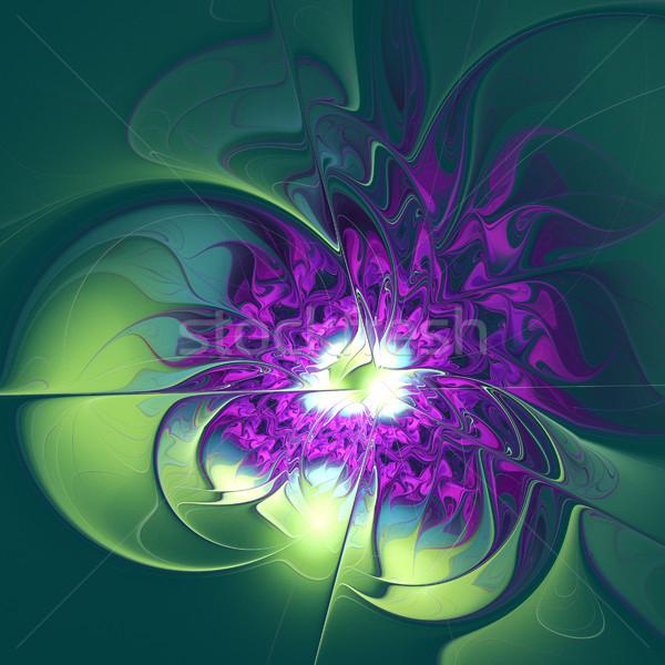 Illusztráció fraktál lila virág levelek számítógép absztrakt Stock fotó © yurkina