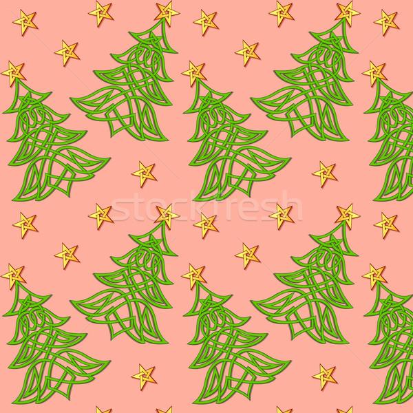 Illustrazione albero di natale celtic pattern albero Foto d'archivio © yurkina
