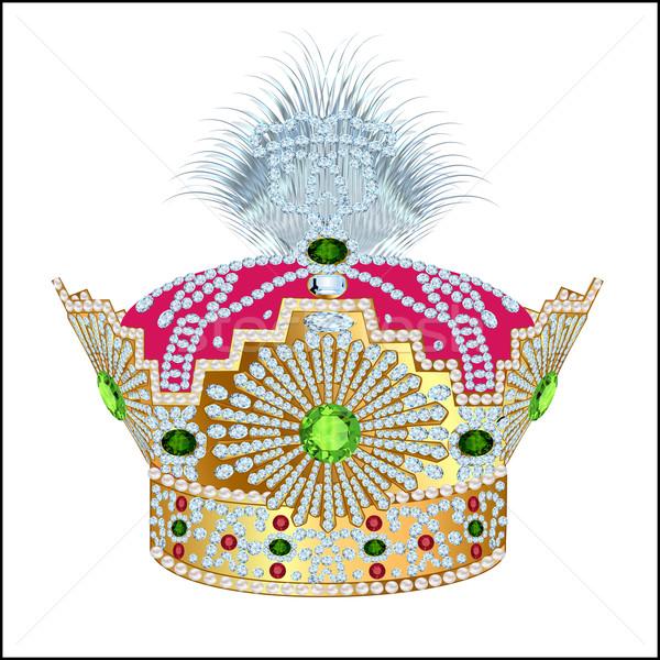 tsarist gold corona with pearl and pattern on white Stock photo © yurkina
