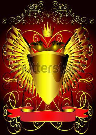 shield with corona and gold pattern Stock photo © yurkina