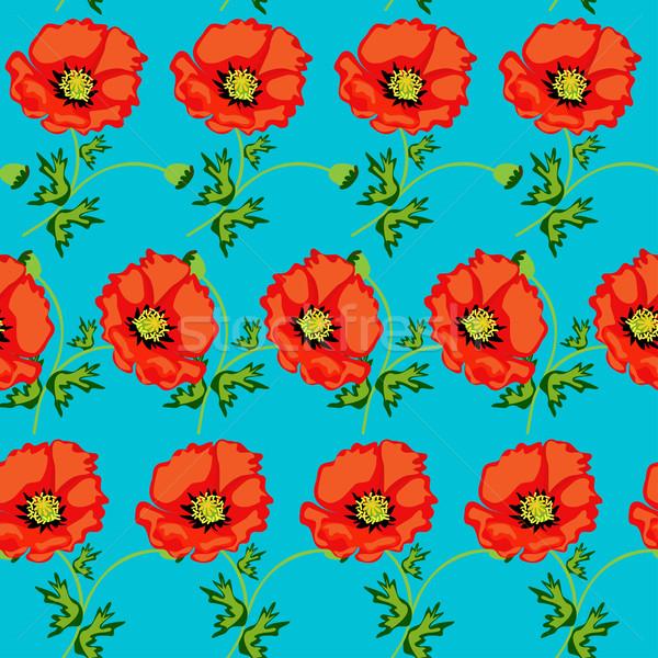 Сток-фото: зеленый · бесшовный · цветы · иллюстрация · весны