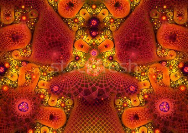 Illusztráció fraktál virágmintás dísz számítógép fény Stock fotó © yurkina
