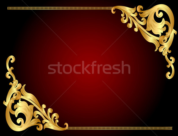 Stock photo:  frame background with gold(en) angular pattern