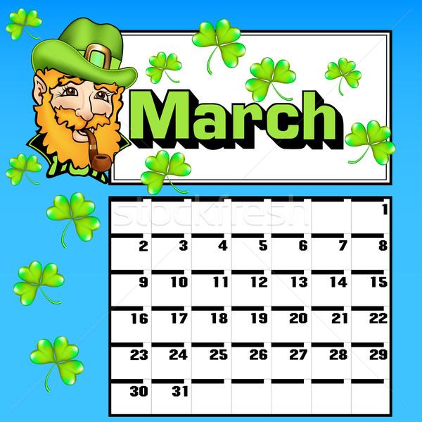 Calendário dia de São Patricio shamrock seis ilustração projeto Foto stock © yurkina