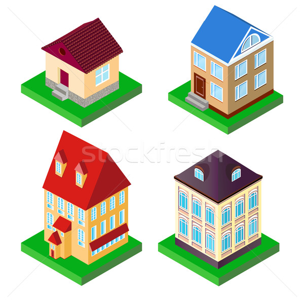 set of houses in perspective on supports Stock photo © yurkina