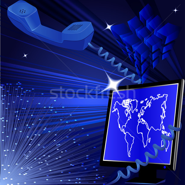 communication background with computer and telephone and filamen Stock photo © yurkina