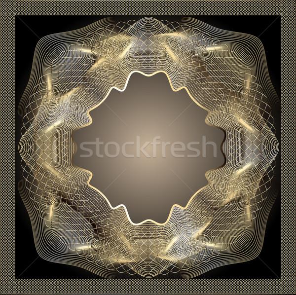 frame background gold guilloche decoration on black Stock photo © yurkina