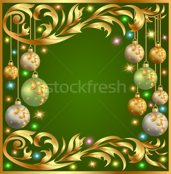 illustration gold background frame festive ball winter Stock photo © yurkina