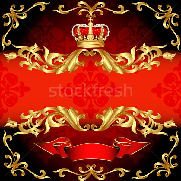 red background frame gold pattern and corona Stock photo © yurkina