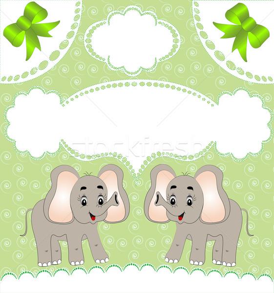 питомник карт объявление слон иллюстрация цветы Сток-фото © yurkina