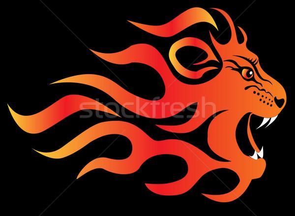 ストックフォト: ライオン · 火災 · 黒 · 実例 · 顔 · デザイン