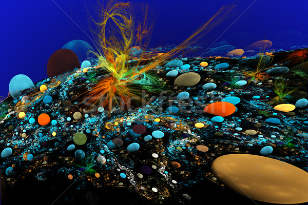 fractal illustration of the seabed with colorful stones and seaw Stock photo © yurkina