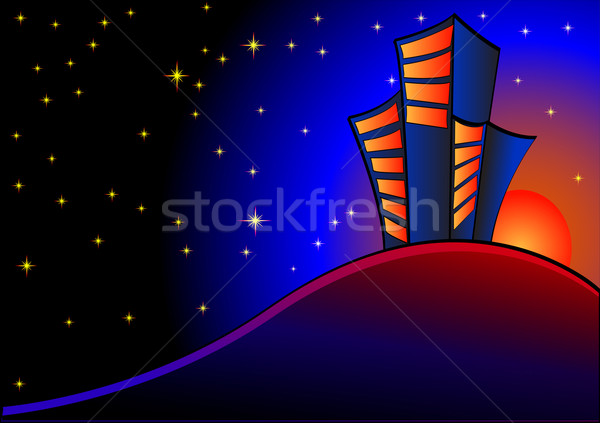 background with night sky and buildings at sundown Stock photo © yurkina