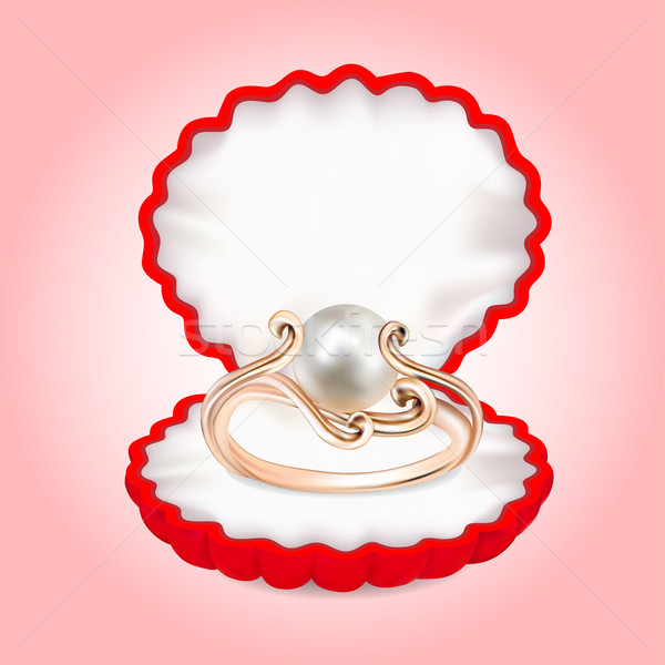 ring with pearls in the red box Stock photo © yurkina