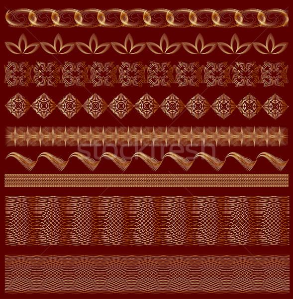 Ingesteld ornament goud kleur bruin cijfer Stockfoto © yurkina
