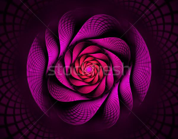 иллюстрация фрактальный спиральных красный цветок интересный Сток-фото © yurkina
