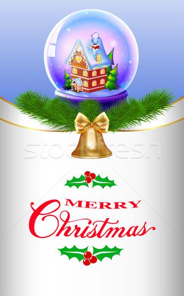 Ilustração natal neve globo casa árvores Foto stock © yurkina