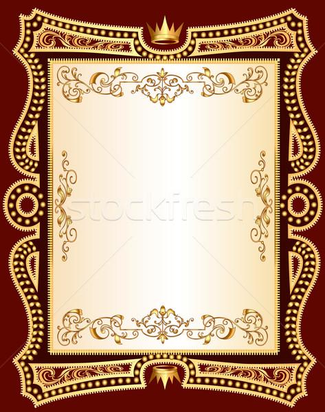 Bruin frame gouden patroon illustratie abstract Stockfoto © yurkina