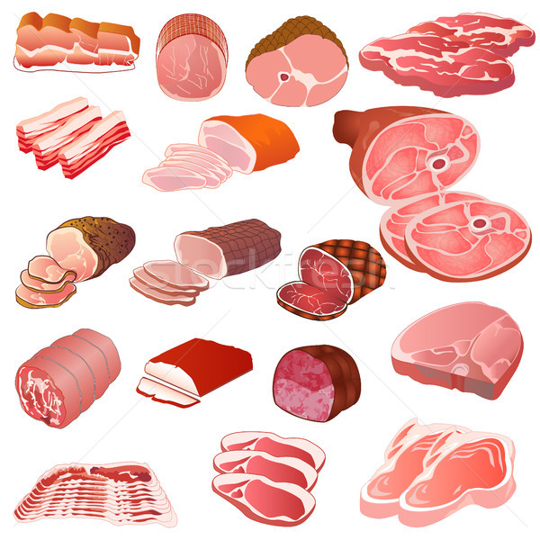 set of different kinds of meat Stock photo © yurkina