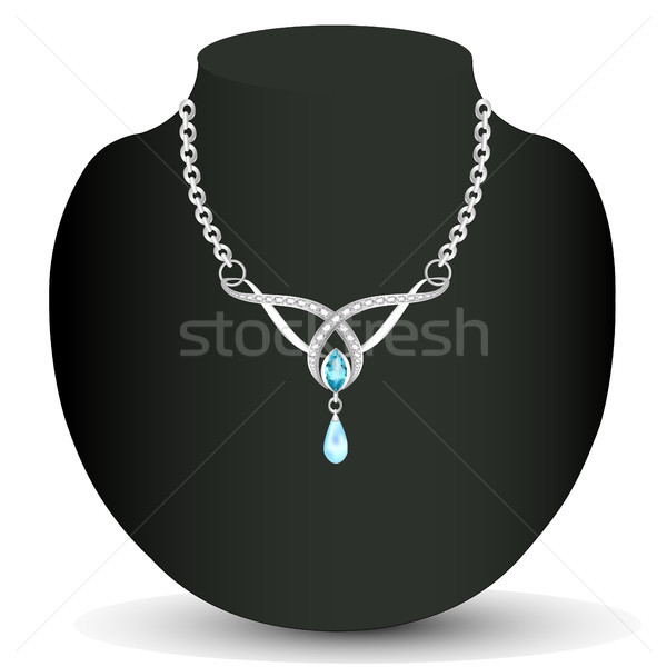 of necklace with blue jewels and pearls Stock photo © yurkina