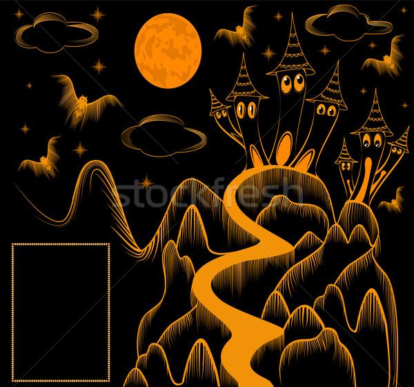 建物 実例 雲 月 背景 オレンジ ストックフォト © yurkina