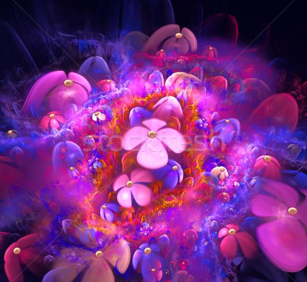 fractal illustration background bright pink color field Stock photo © yurkina