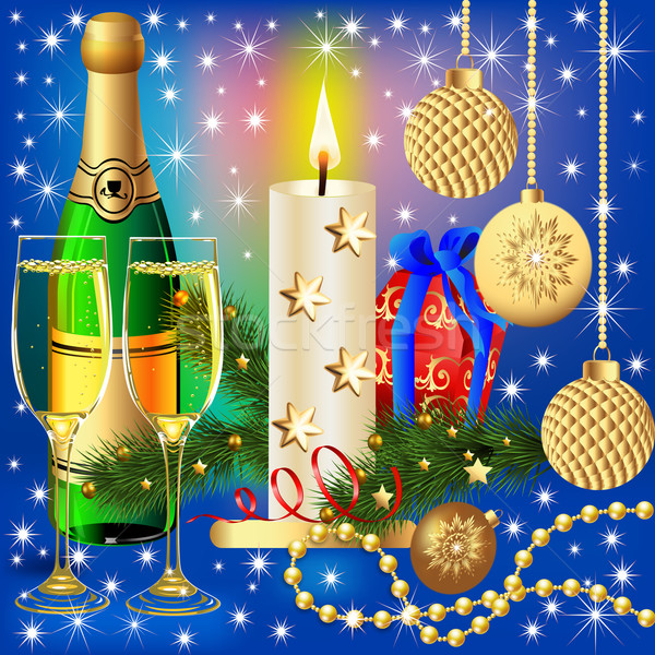 festive background with candle ball and gift Stock photo © yurkina