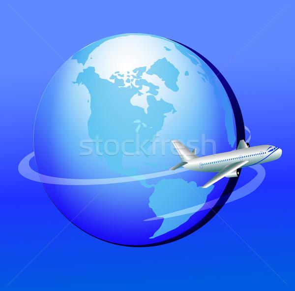 Avião em torno de globo jornada ilustração mar Foto stock © yurkina