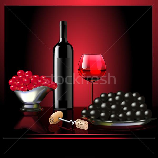 wine goblet grape on dark background Stock photo © yurkina