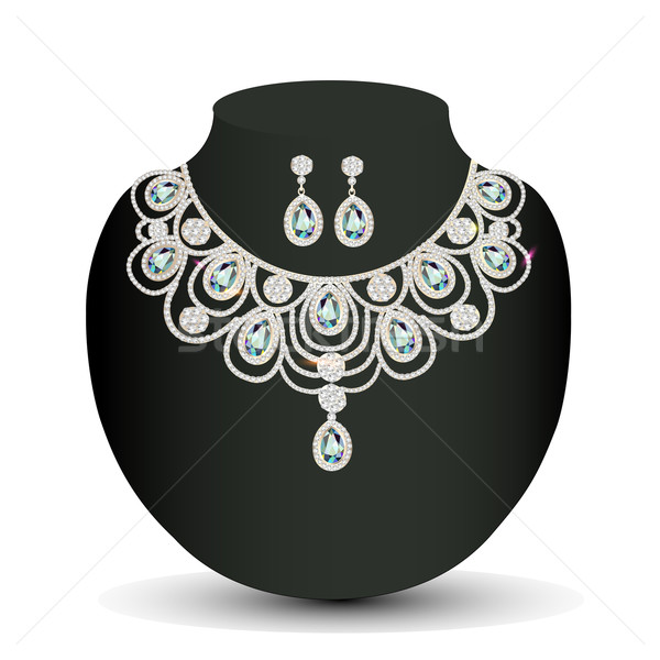 necklace and earrings female with white precious stones Stock photo © yurkina