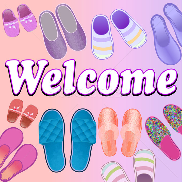 background with slippers cozy and soft and text welcome Stock photo © yurkina