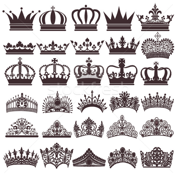 Stock photo: illustration set of silhouettes of vintage crown