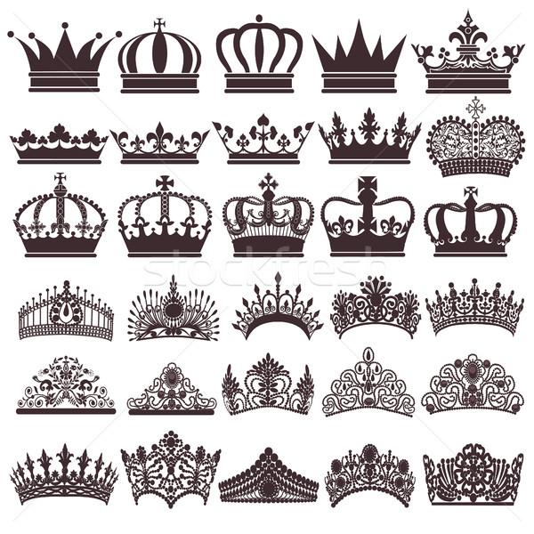 illustration set of silhouettes of vintage crown Stock photo © yurkina