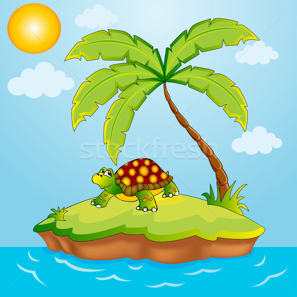 south island with palm and terrapin Stock photo © yurkina