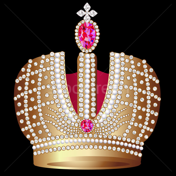 gold(en) royal crown with ruby Stock photo © yurkina