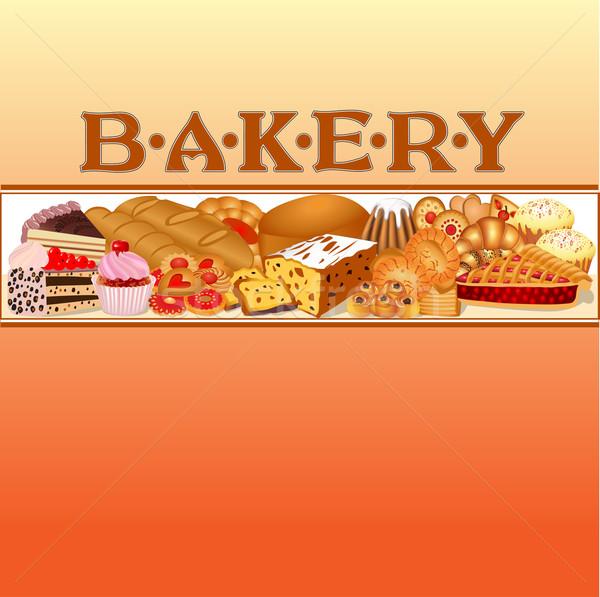 Conjunto pão padaria ilustração comida Foto stock © yurkina