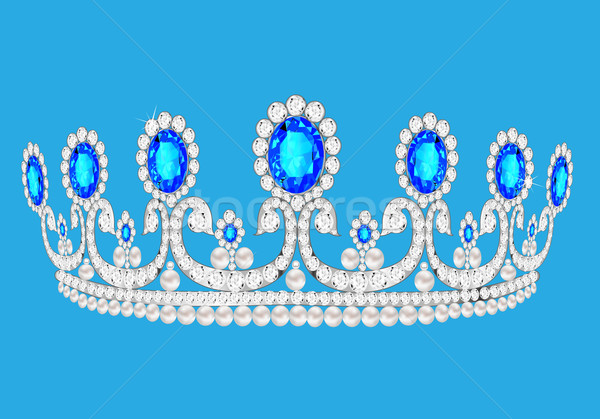 beautiful diadem feminine wedding on we turn blue background Stock photo © yurkina