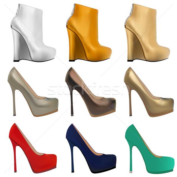 set of women's shoes with heels  Stock photo © yurkina