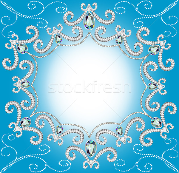 background with ornament with pearls and silver twisted edge Stock photo © yurkina