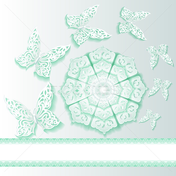 illustration background with butterflies and flower  of lace Stock photo © yurkina