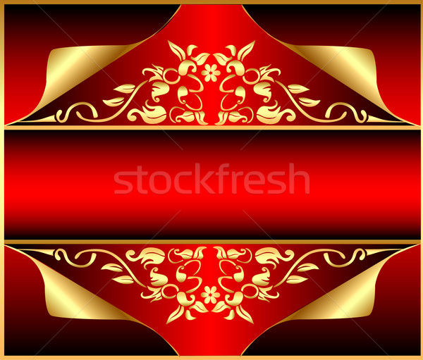 background with gold(en)  pattern and wreathed small piece of c Stock photo © yurkina