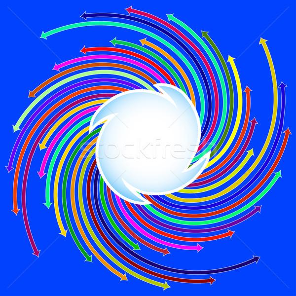 Stock fotó: Kék · színes · nyilak · spirál · illusztráció · absztrakt