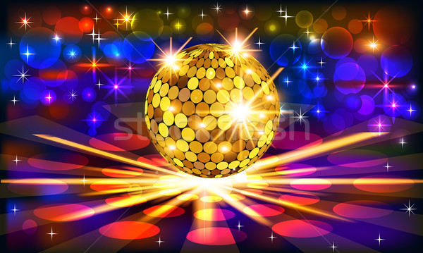 bright background with golden disco ball and rays Stock photo © yurkina