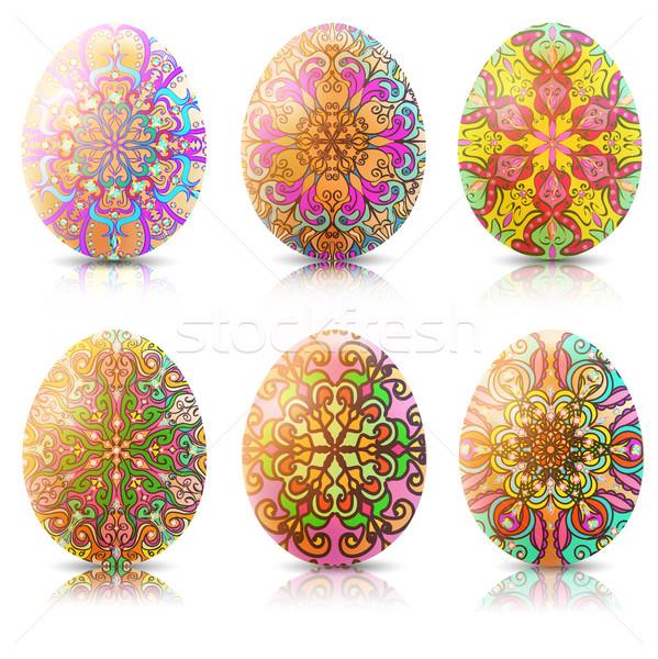 Ilustración establecer huevos de Pascua ornamento reflexión luz Foto stock © yurkina