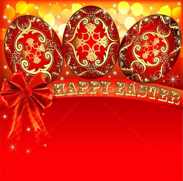 background with Easter eggs and golden bow Stock photo © yurkina