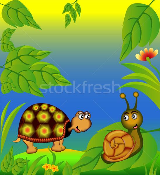 nice terrapin and snail in herb Stock photo © yurkina