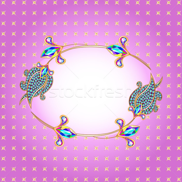 illustration background frame with gold and precious stones Stock photo © yurkina