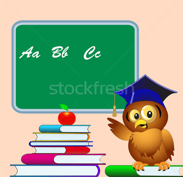 owl points to school board on pile of the books apple Stock photo © yurkina