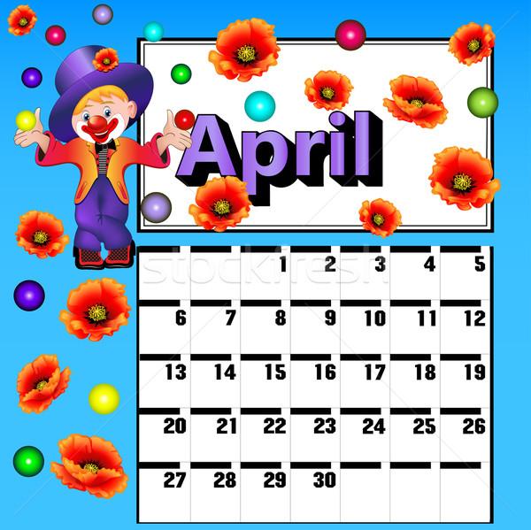 calendar for April clown flower balls Stock photo © yurkina