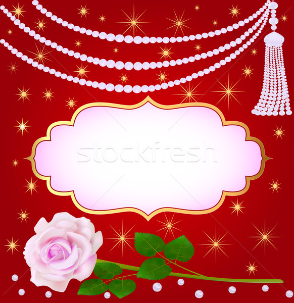 wedding background with rose and pearls Stock photo © yurkina